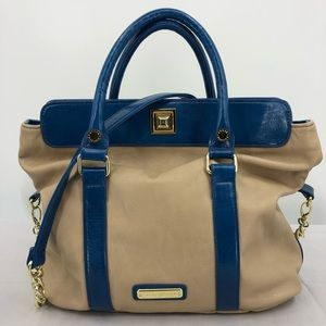 Steve Madden L Beige Blue Vegan Leather Handbag